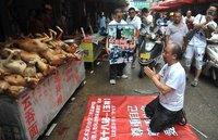 2014年6月21日,广西玉林,行为艺术家片山空和一群来自各地的爱狗人士来到玉林狗肉市场进行不吃狗肉宣传,并且当场下跪向狗谢罪。