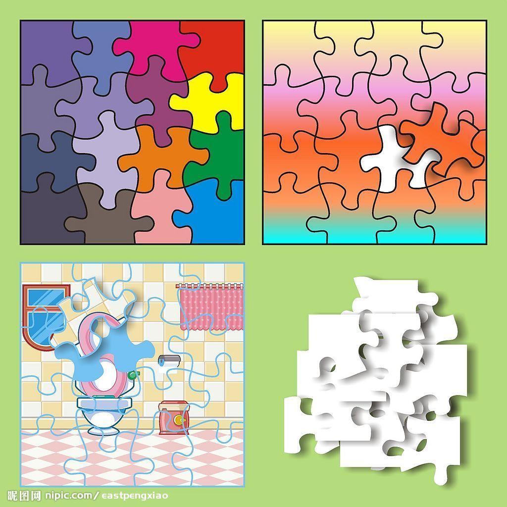 秋天主题三角形正方形圆形拼图-积木是将圆形,三角形,正方形二等