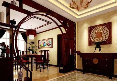 中式古典风格的室内设计,是在室内布置,线形,色调及家具,陈设的造型