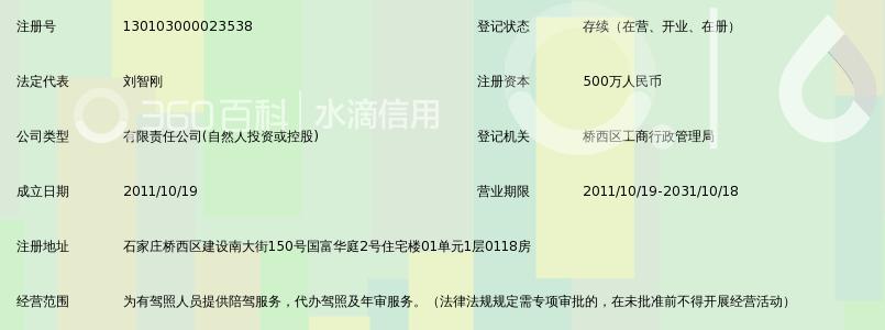 石家村儿子汇畅通营汽车陪练效力动拥有限公司_360佰科