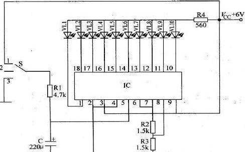 10级电压比较器的同相输入端与电阻分压器相连,电阻分压器由10只1kΩ