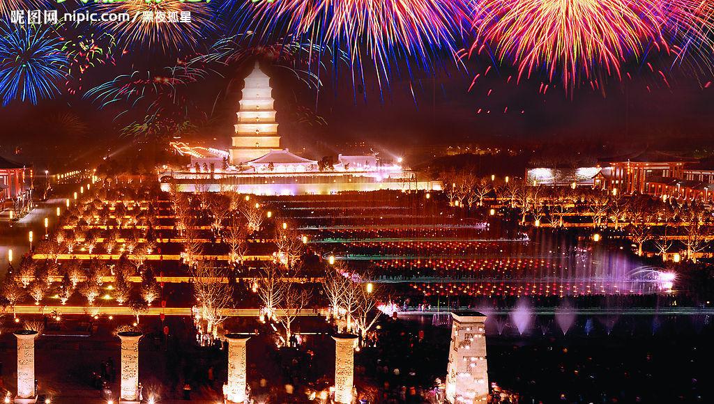 大雁塔北广场位于西安著名的大雁塔脚下