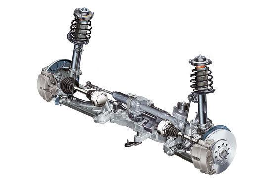 其中助力转向控制单元和电动泵是一个整体结构